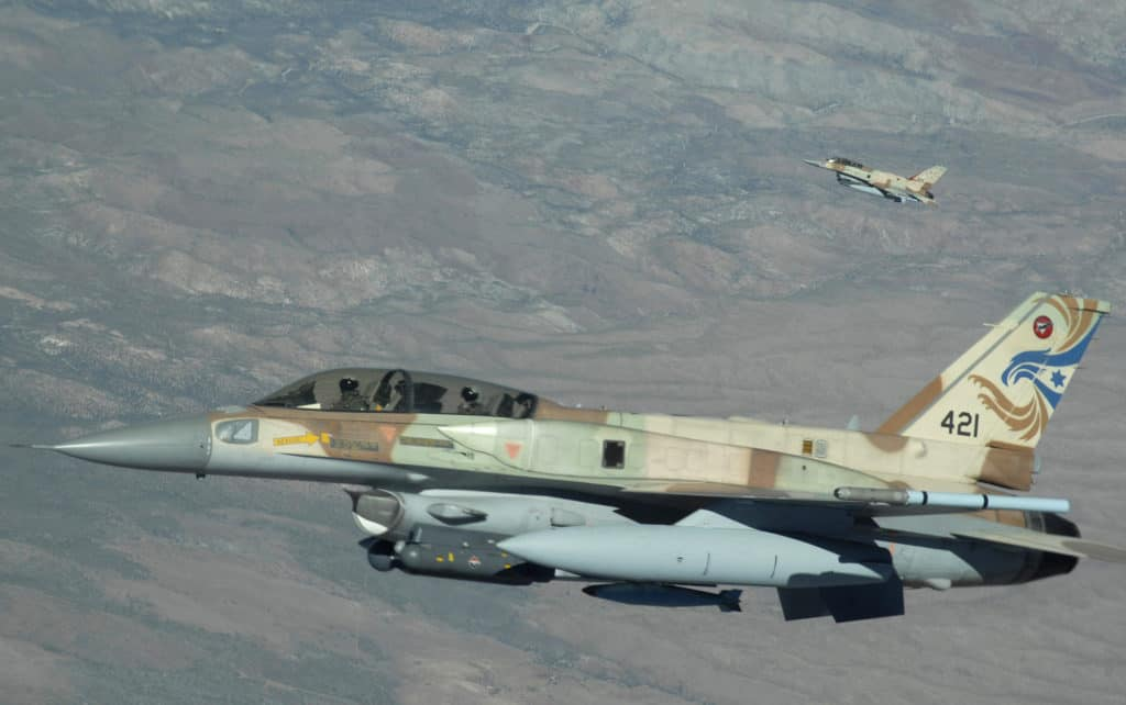 A two-ship of Israeli air force F-16s from Ramon Air Base, Israel, head out to the Nevada Test and Training Range, July 17 during Red Flag 09-4. Red Flag is a realistic combat training exercise involving the air forces of the United States and its allies. (U.S. Air Force photo/ Master Sgt. Kevin J. Gruenwald)