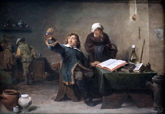 David_Teniers_the_Younger_-_Village_Doctor_looking_at_a_Urine_Sample