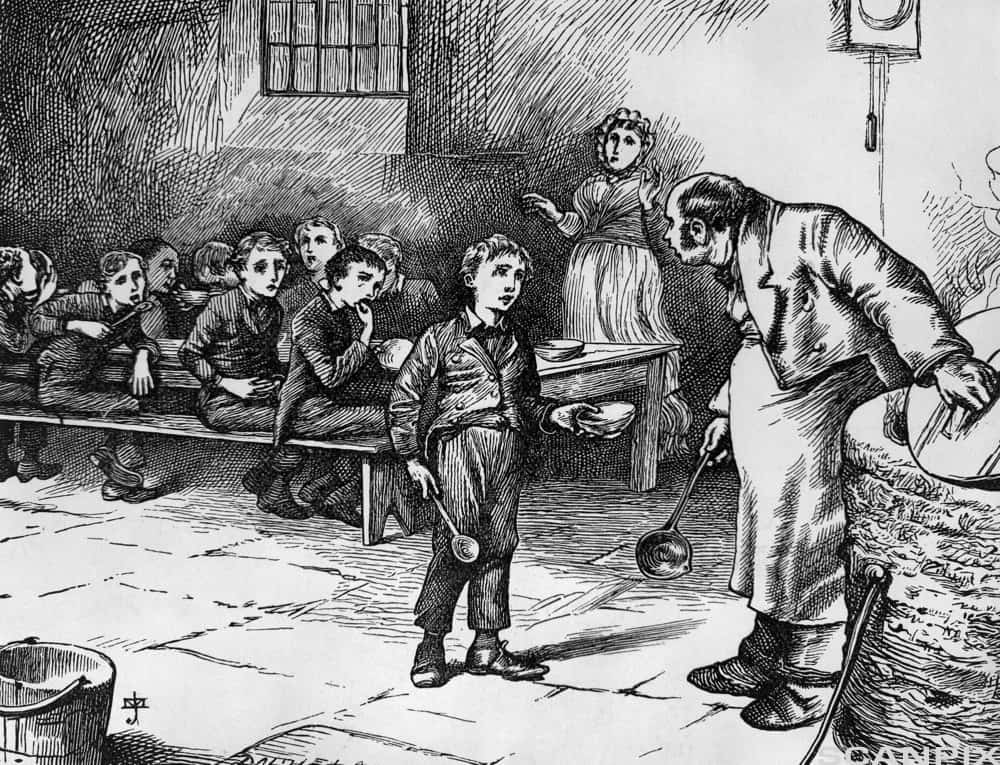 ca. 1870 --- An illustration from Oliver Twist by Charles Dickens. --- Image by © Bettmann/CORBIS