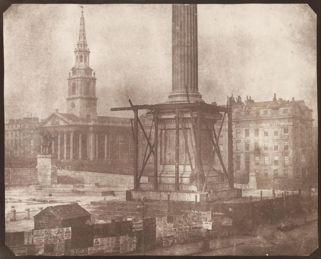 William_Henry_Fox_Talbot_-_The_Nelson_Column_in_Trafalgar_Sqaure_under_Construction_-_Google_Art_Project