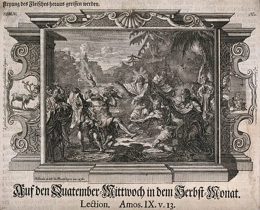 """Christ heals a demoniac; a demon is expelled into the air. Etching by J.D. de Montalegre and M.H. Rentz. Inset on left side of a stag, with the lettering """"a primus annis comīseratione digna"""". On the right an image showing two people apparently creating a mixture in a bowl on a pedestal, with the lettering """"ad fugandum Dæmonium"""". Psychiatry. Healers. Spiritual healing. Medicine in the Bible. Christianity. Apostles. Demoniac possession. Exorcism. Demonology. Restraint of patients. Deer. Antlers. Magic. Jesus Christ Miracles. Contributors: Johann Daniel de Montalegre (1689-1768); Michael Heinrich Rentz (1701-1758). Work ID: ychkpqar."""